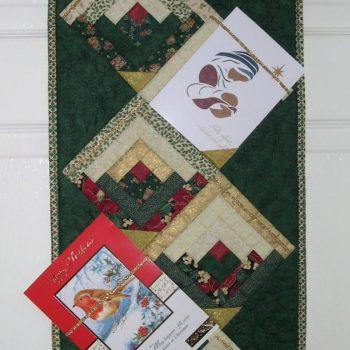 Log Cabin patchwork section of Christmas Card Hanger