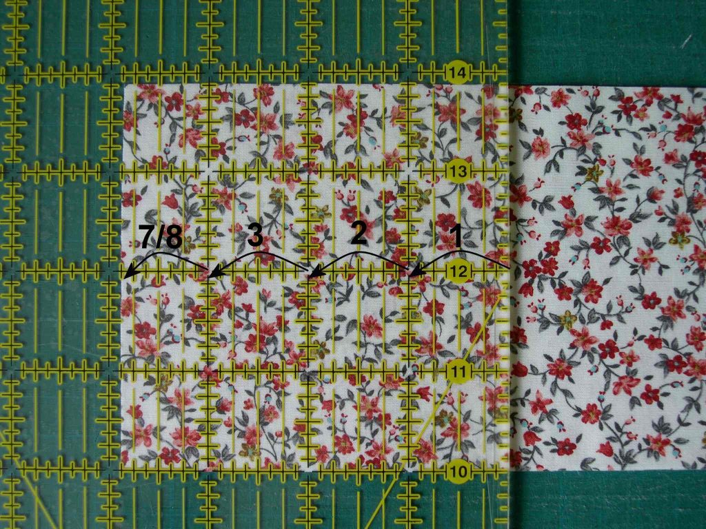 Quilters ruler ready to cut a square