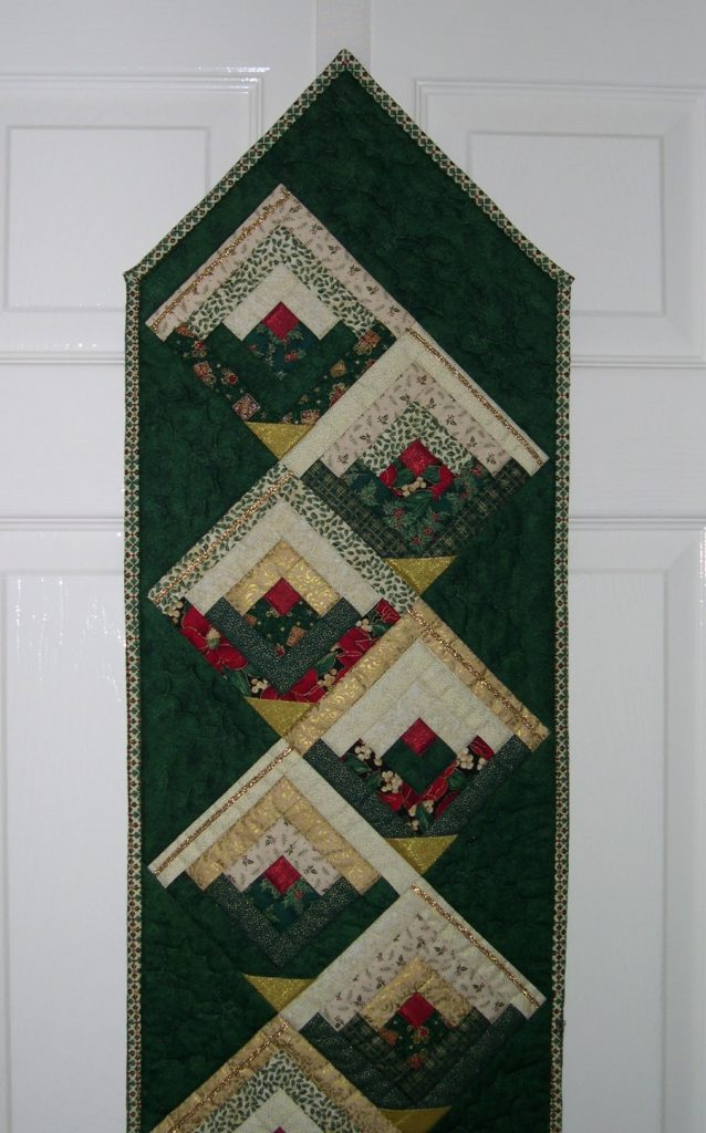 Green and cream log cabin patchwork