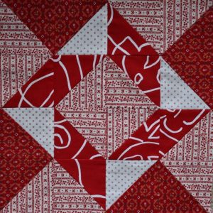Red and white patchwork block