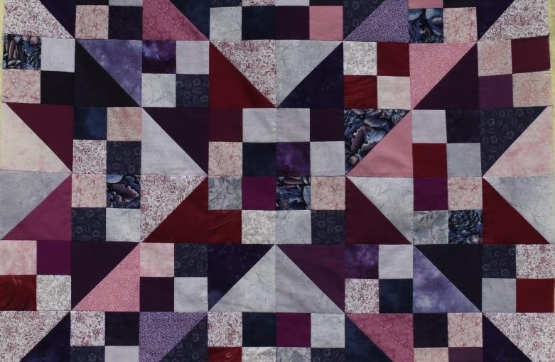 Blue and Pink Northern Lights quilt