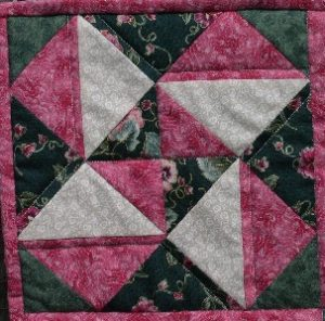 Small pink and green patchwork star