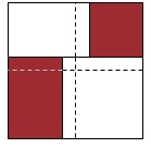 Four squares of fabric with alternating colours