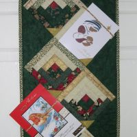 Log Cabin patchwork section of Christmas Card Hanger