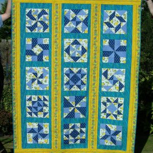 Blue and yellow sampler quilt