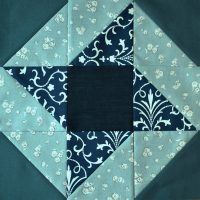 Blue and jade patchwork star block