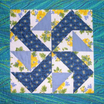 Blue and yellow patchwork block