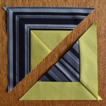 """Two triangular patchwork sections of """"Easter Morning"""" block"""