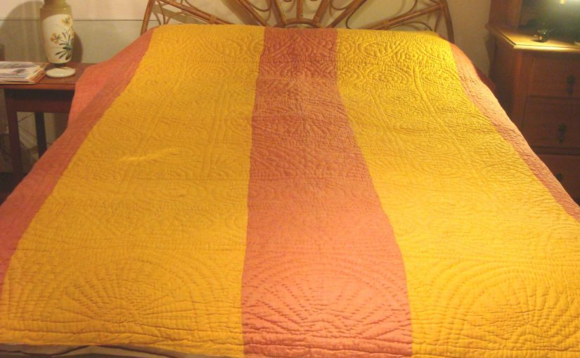 Yellow and pink quilt