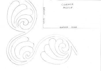 Swirling paisley shell corner motif