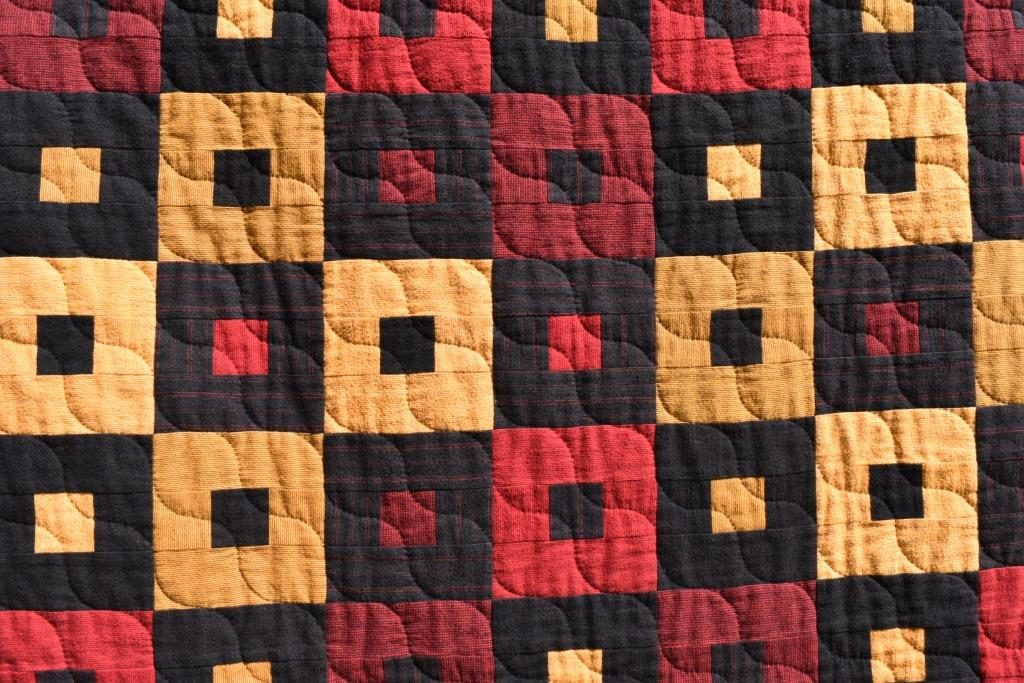 Red, yellow & black patchwork design