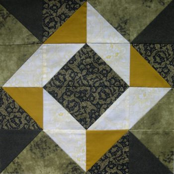 Green and mustard patchwork block