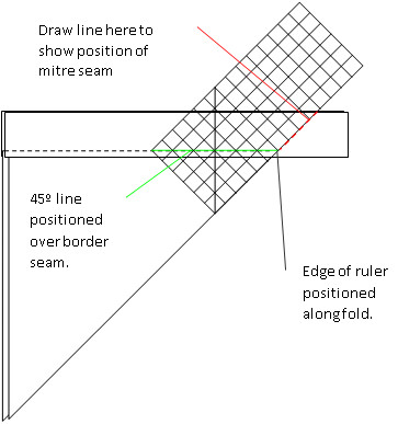 Quilters ruler positioned at 45 degree angle