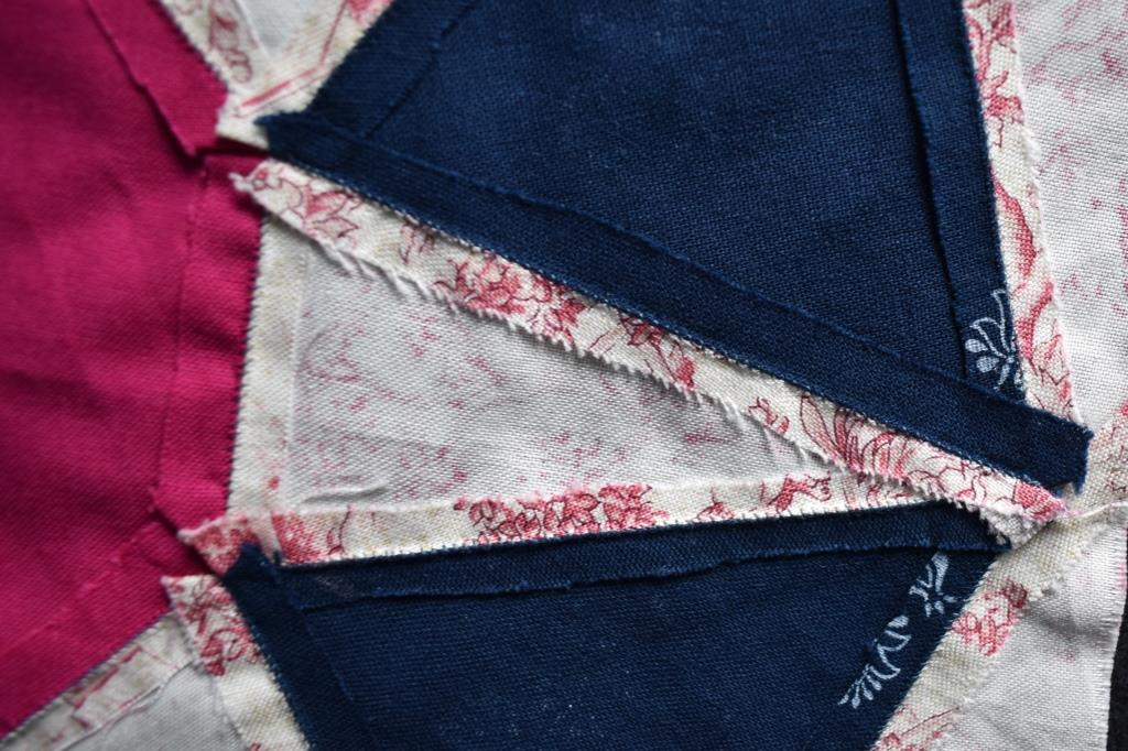 Seams are oversewn on this patchwork