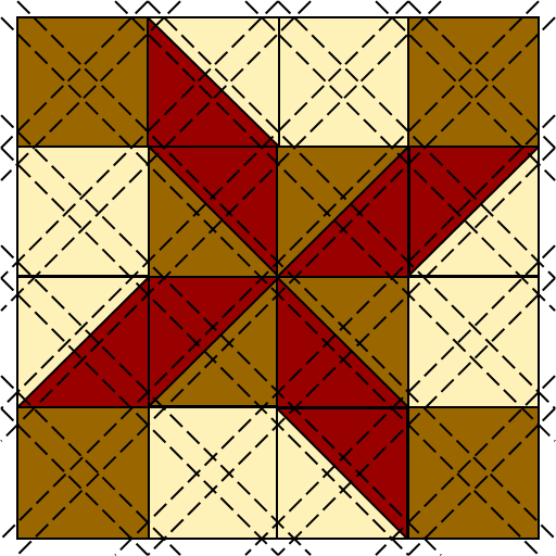 Red and brown patchwork block