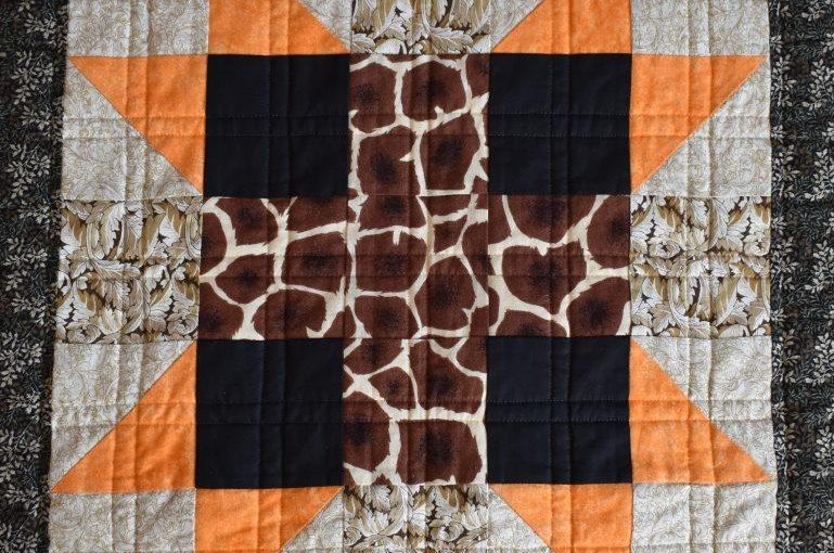 Orange, black and brown patchwork block
