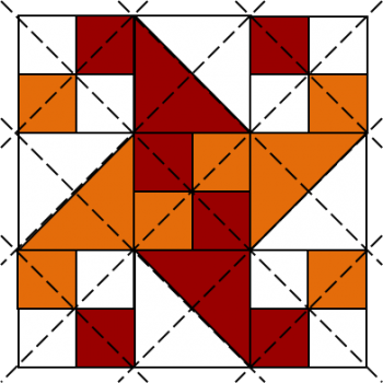 Red and orange water wheel patchwork block
