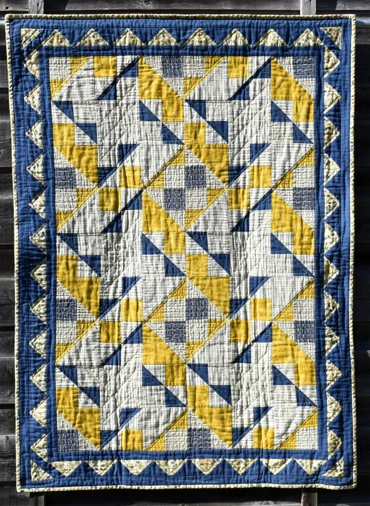 Blue and yellow patchwork