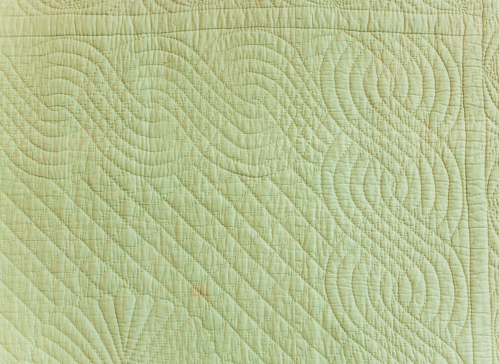 Cable border on green quilt