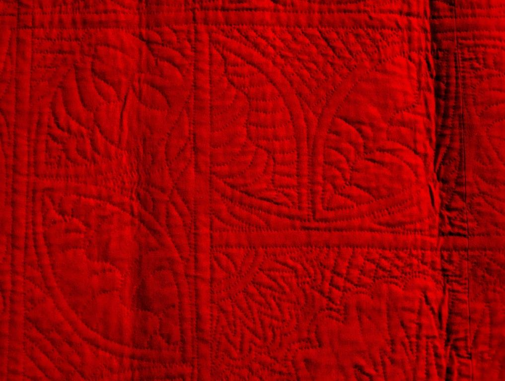 Large leaves on red quilt border