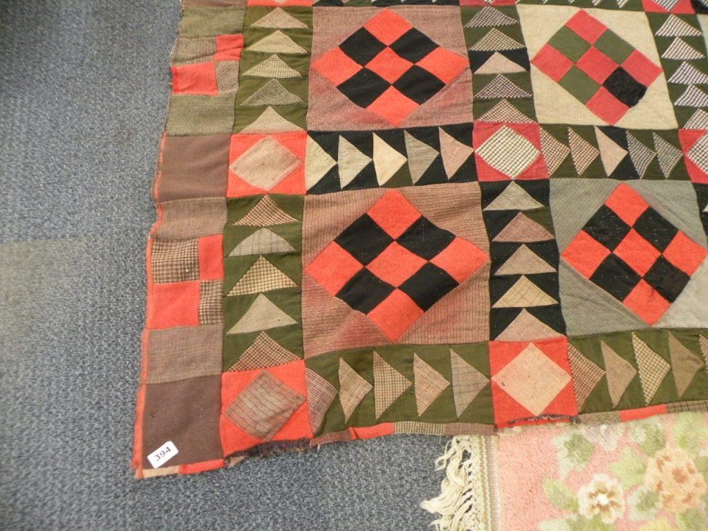 Red & black woolen patchwork