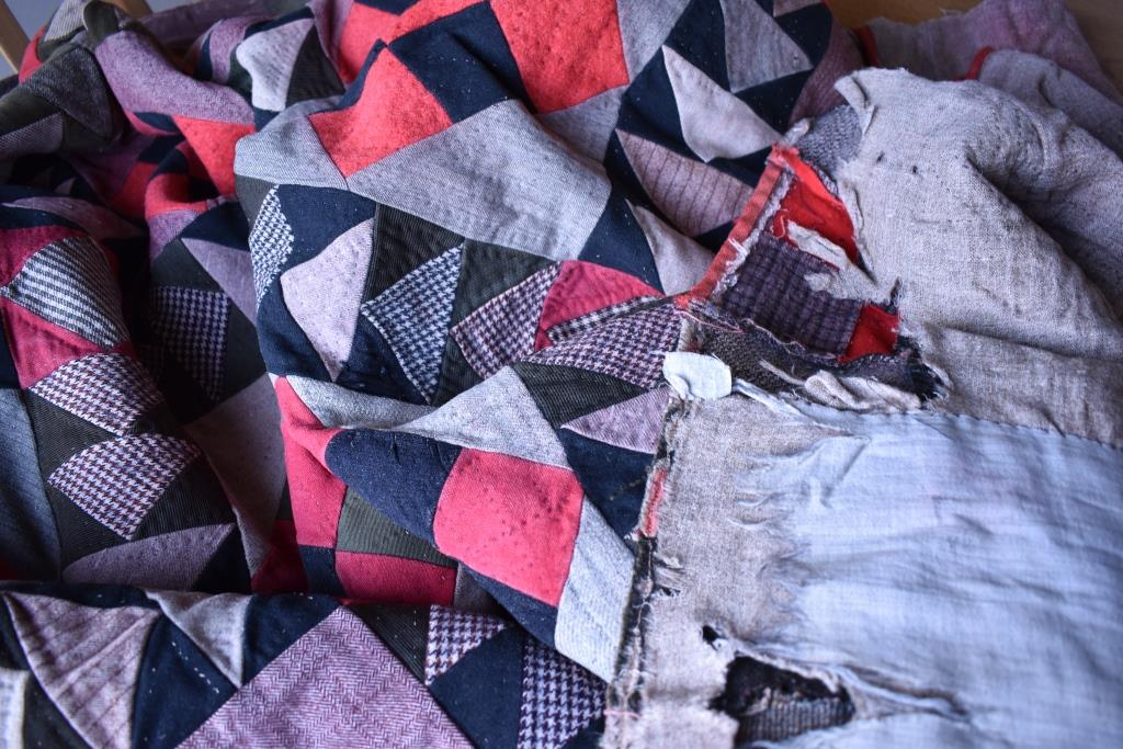 Tattered red and black patchwork