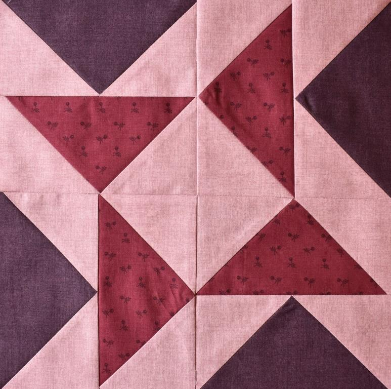 Deep pink & purple on pal pink patchwork block