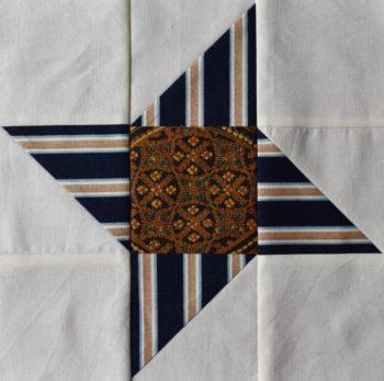 Striped star navy on cream